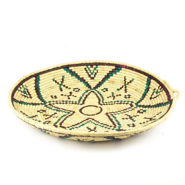 Berber Platter - Tan n' Purple 47cm-Berber Basket-A Little Morocco
