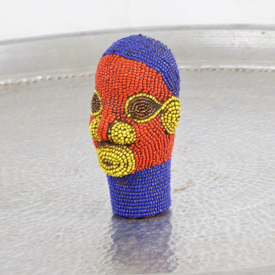 Cameroon Beaded Head - Blue Crown 12cm-Cameroon Head-A Little Morocco