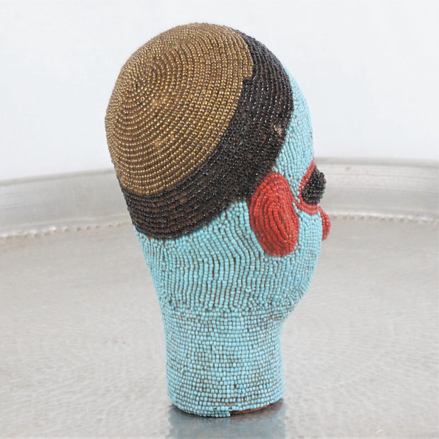 Cameroon Beaded Head - Blue Skinned Man 20cm-Cameroon Head-A Little Morocco
