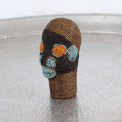 Cameroon Beaded Head - Golden Boy 12cm-Cameroon Head-A Little Morocco