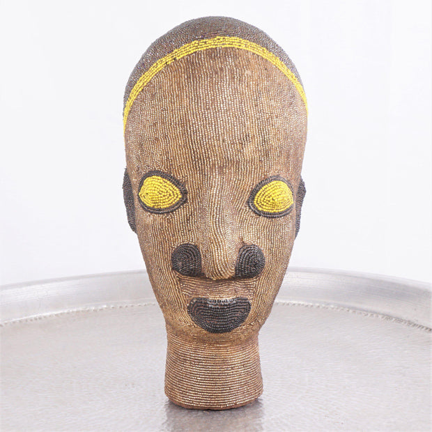 Cameroon Beaded Head - Golden Queen 32cm-Cameroon Head-A Little Morocco