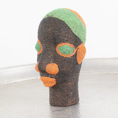 Cameroon Beaded Head - Tangerine Lips 21cm-Cameroon Head-A Little Morocco