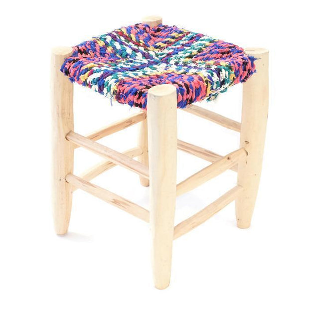 Chair - Boucherouite Stool 41cm-Furniture-A Little Morocco