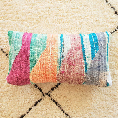 Cushion - Boucherouite Kilim Bolster 60x30cm-Cushion-A Little Morocco