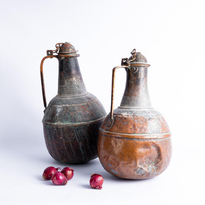 Decor - Large Vintage Copper Cannister Jugs with Lid-Decor-A Little Morocco
