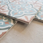 a little morocco, encaustic tiles apricot bloom side view
