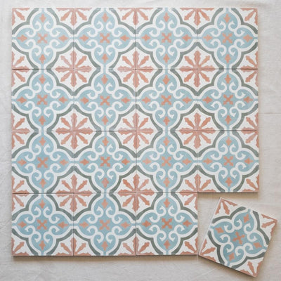 a little morocco, encaustic tiles apricot bloom 16 tile lay.