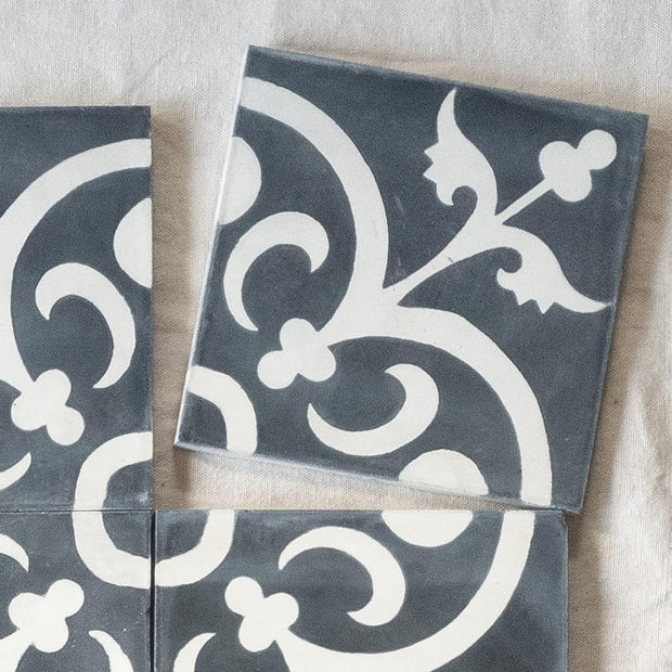 a little morocco, encaustic tiles Classique black and white single tile.