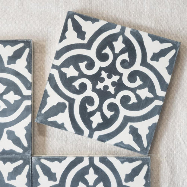 a little morocco, encaustic tiles floral black and white single tile