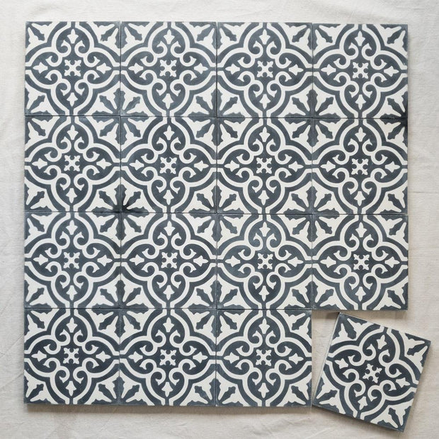 a little morocco, encaustic tiles floral black and white 16 tile lay.