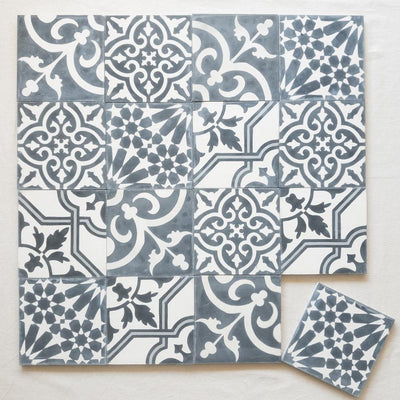 a little morocco, encaustic tiles, mosaic black and white 16 tile lay