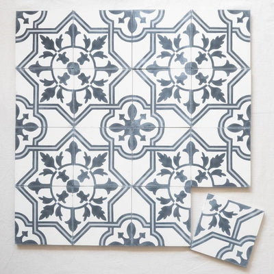 a little morocco, Encaustic Tiles Palais Khum black and white 16 tile lay