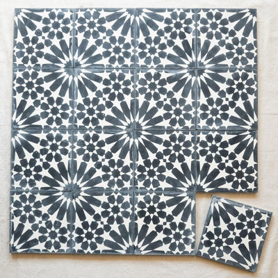 a little morocco, encaustic tiles starry sky black and white 16 tile lay.