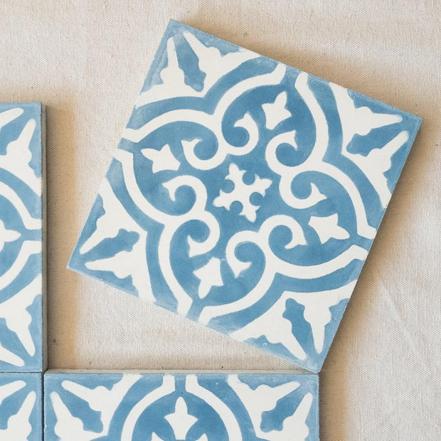 a little morocco, encaustic tiles floral blue and white single tile