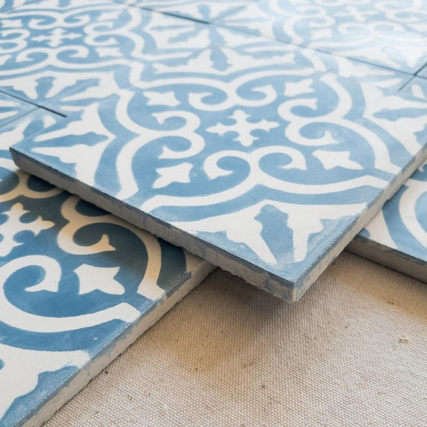 a little morocco, encaustic tiles floral blue and white side view