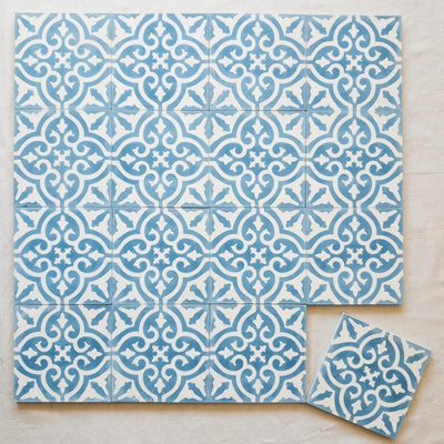 a little morocco, encaustic tiles floral blue and white 16 tile lay.