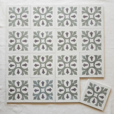 a little morocco, encaustic tiles desert bloom 16 tile lay