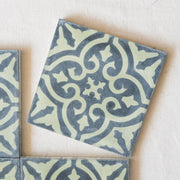 Encaustic Tiles - Green & Black Floral single tile