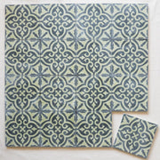 Encaustic Tiles - Green & Black Floral 16 tile lay