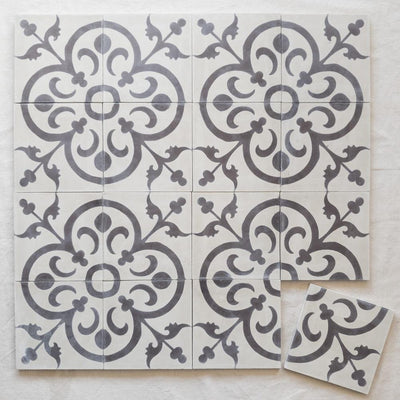 a little morocco, encaustic tiles natural classique 16 tile lay.