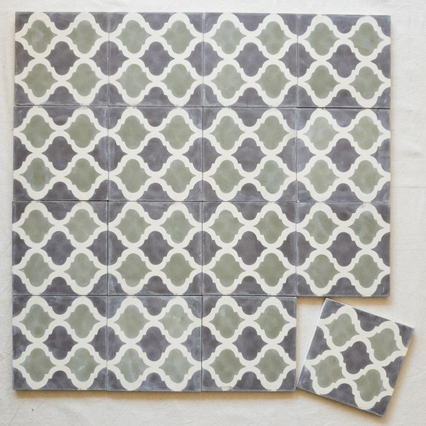 Encaustic Tiles - Sage Arabesque | A Little Morocco 16 tile lay
