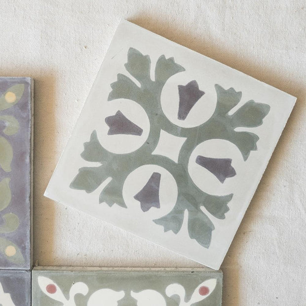 a little morocco, encaustic tiles sage garden Single tile D
