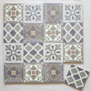 a little morocco, encaustic tiles sage garden 16 tile lay.