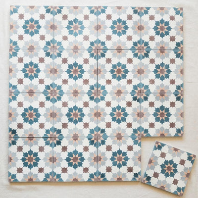 a little morocco, encaustic tiles spring blossom 16 tile lay
