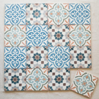 a little morocco, encaustic tiles summer garden 16 tile lay A