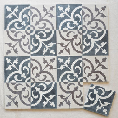 A little Morocco Encaustic Tiles Two Toned Classique Mosaic 16 tile lay