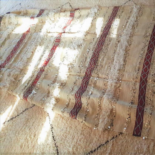 "Handira - Moroccan Wedding Blanket - ""Nour"" 295x147cm-Handira Wedding Blanket-A Little Morocco"