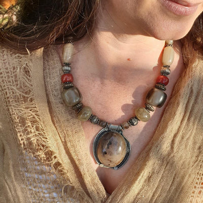 A Little Morocco Moroccan Amber Pendant Necklace Styled