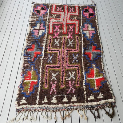 a little morocco boucherouite rug rocky road flat lay