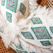 A Little Morocco, Moroccan Cactus Silk Cushion Green Detail Front
