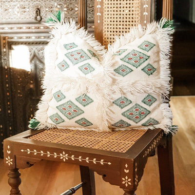 Moroccan Cactus Silk Cushion - Berber Green Diamonds
