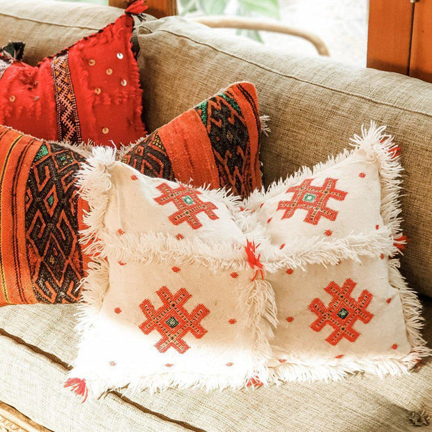 A Little Morocco, Moroccan Cactus Silk Cushion Red Styled