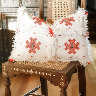 Moroccan Cactus Silk Cushion - Berber Red Diamonds