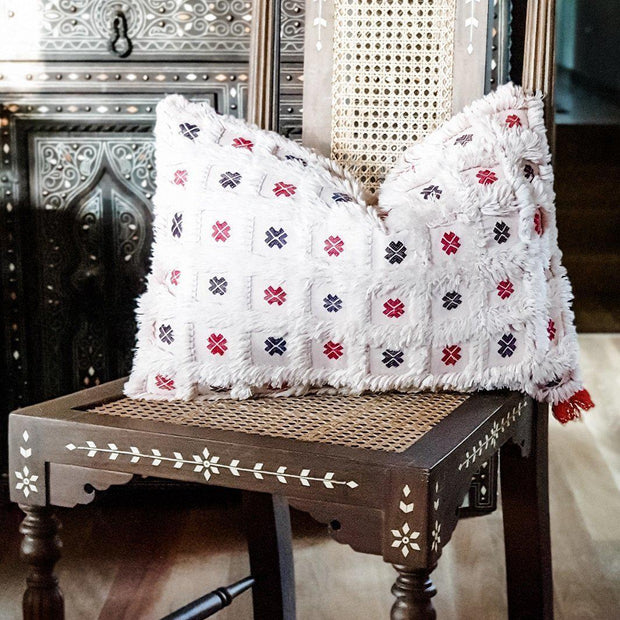 Moroccan Cactus Silk Cushion - Pale Blush with Flowers