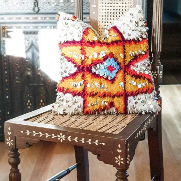 A Little Morocco, Moroccan Cushion Berber Star Motif Style A Front