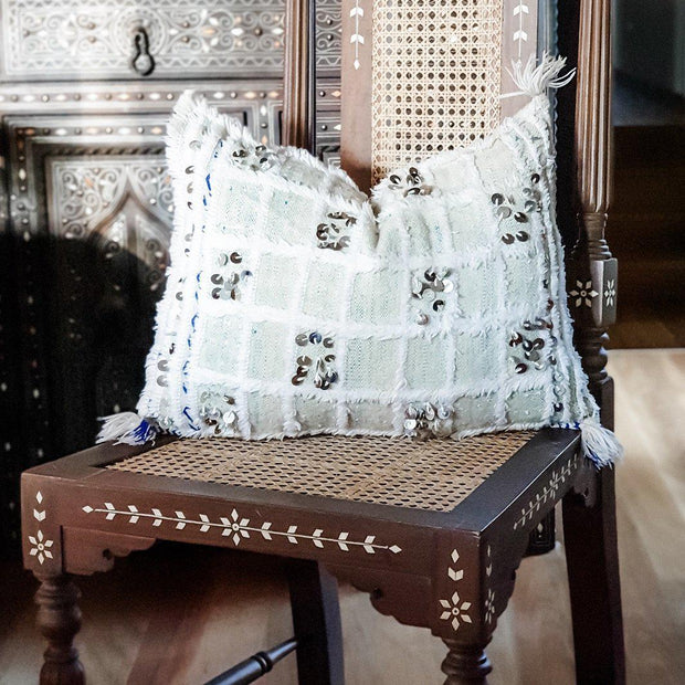 A Little Morocco, Moroccan Cushion Vintage Handira Green Squares Front
