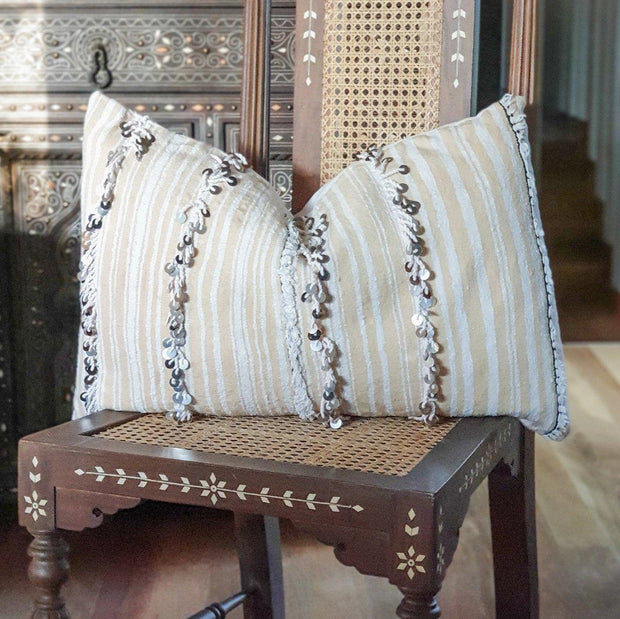 Moroccan Cushion - Vintage Handira Vertical Stripes
