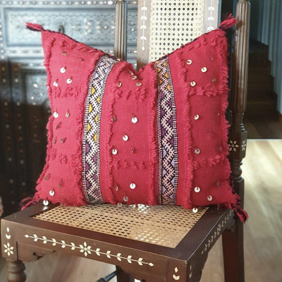 Moroccan Handira Cushion - Red