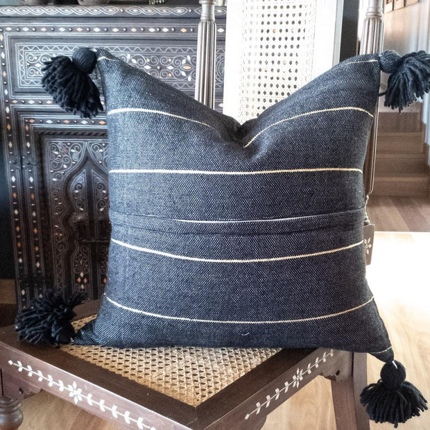 a little morocco, pompom cushion black and gold product back image