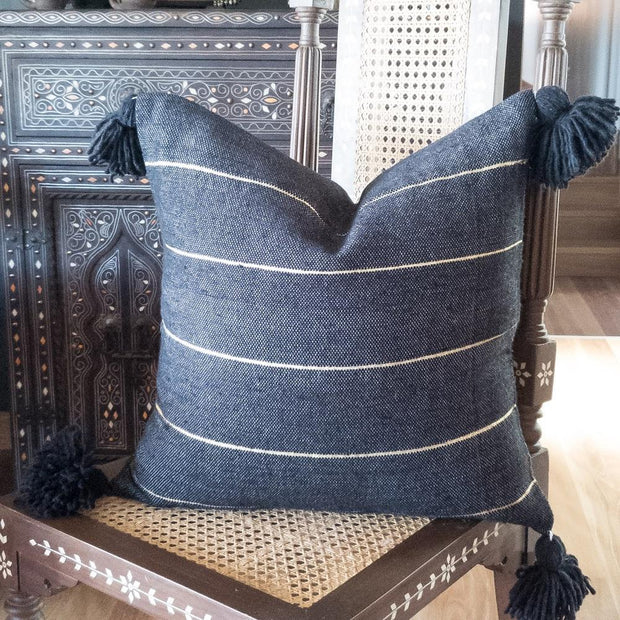 a little morocco, pompom cushion black and gold product image