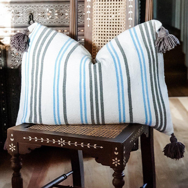 Moroccan Pompom Cushion - Blue & Brown Stripe Large