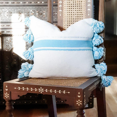 Moroccan Pompom Cushion - Blue Stripe
