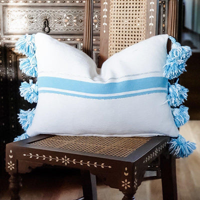 Moroccan Pompom Cushion - Blue Stripe Large