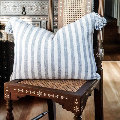 Moroccan Pompom Cushion - Grey Stripe Large