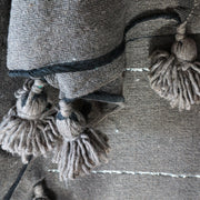 Pompom Blanket - Chocolate & Silver Stripe-Pompom Blanket-A Little Morocco
