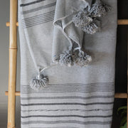 Pompom Blanket - Light Grey & Charcoal Stripe-Pompom Blanket-A Little Morocco